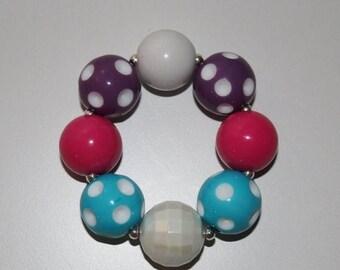 Semi-Annual SALE Multi-color Polka Dot Chunky Bubblegum Bracelet - JTJ15125
