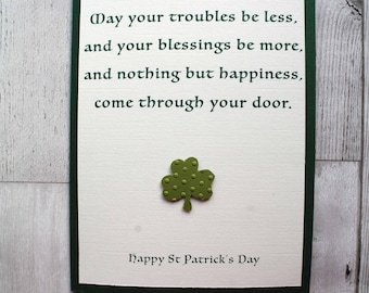 Irish Blessing, Happy St Patrick's Day handmade card