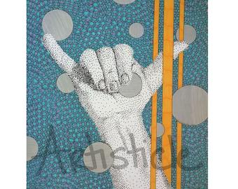 Hang Loose Car Decal, Shaka Window Sticker, 4x6 Durable, UV Coated Vinyl, Aqua Blue Yellow, Geometric, Gift For Dude Him, Bro Surfer, Hawaii