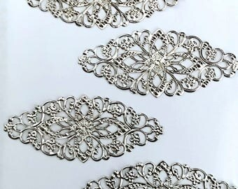 20 pcs Silver plated Embellishments Scrapbooking Paper Craft Metal Stamping Lace Filigree