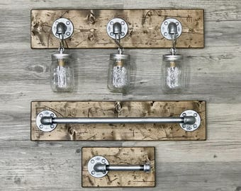 Bathroom lighting etsy rustic bathroom set mason jar light vanity light bathroom lighting toilet paper mozeypictures Image collections