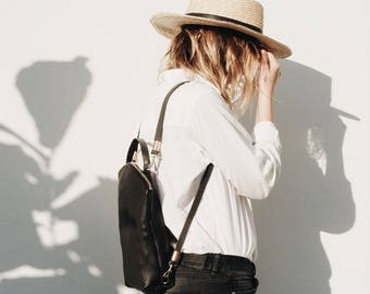 Leather Backpack Black, Ecoleather, Minimalist Backpack, Boho Backpack, City Backpack, CURVE BACKPACK