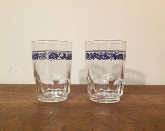 Two Arcoroc Old Town Blue Juice Glasses / Tumblers, Made in France - Corning, Corelle, Pyrex Compatibles
