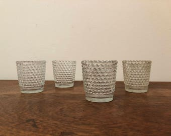 Four Clear Hobnail Glass Votive Candle Holders by Anchor Hocking