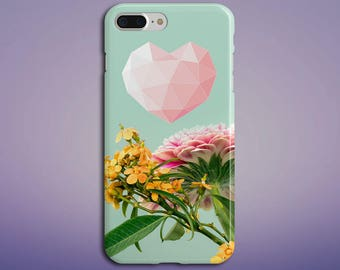 Geometric Pink Heart x Summer Flowers Phone Case for iPhone X, iPhone 8 Plus, Samsung Galaxy s8, s7 edge,Note 8, S8 Plus, Google Pixel 2