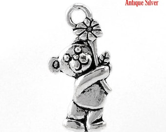 5 charms charms pendants Teddy bear and his flower silver aged size 19mm x 9mm REF.: 1 B 21690