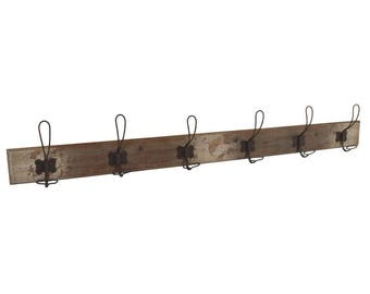 Rack-wood with 6 antique patina metal hooks