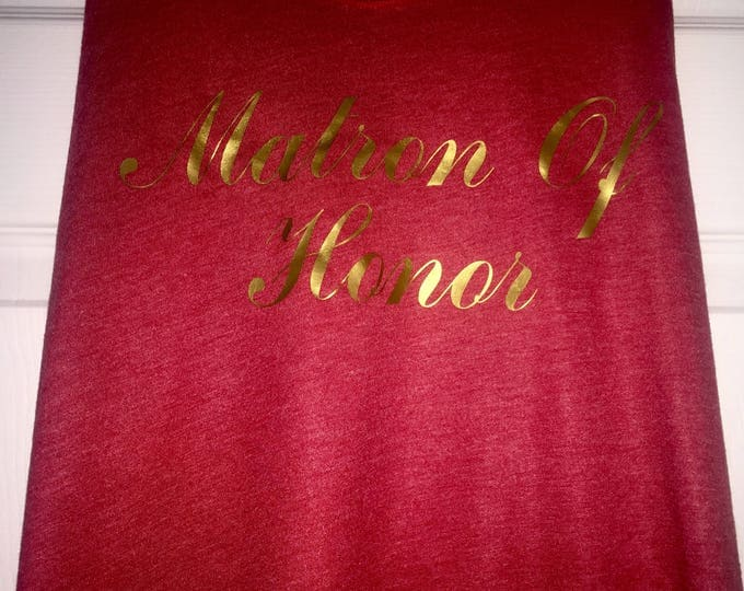 Red bridesmaid tanks. Matron of honor loose for tank top. Bridal party shirts. Flowy bridesmaid tanks. Cute bachelorette tank tops .