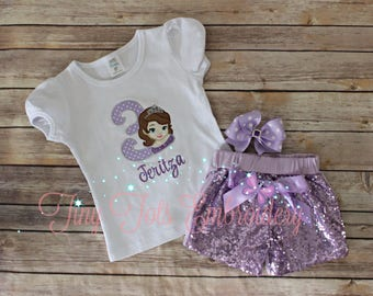 Sofia The First Birthday Outfit ~ Includes Top, Sequin Shorts and Hair Bow ~ Customize in any colors!