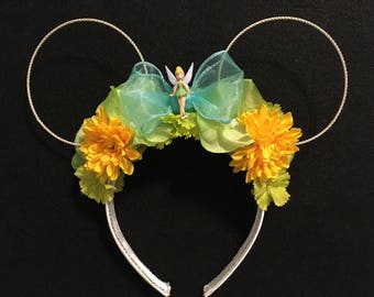 Tinkerbell inspired floral custom mouse ears