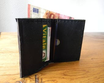 Handmade small black leather wallet