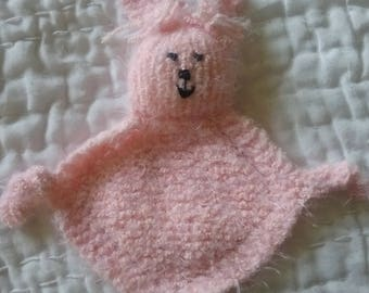 Pink Cuddle Buddy, Knit Blanket Buddy, Cuddle Bunny, Baby Lovey, Security Blanket, Baby Gift, Bunny Lovey, Handknit Baby Cuddle Toy, Baby