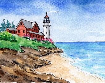 ACEO Original Watercolor Painting and Ink-Lighthouse,Beach,Seascape/ATC
