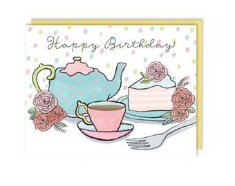 Birthday Card - Tea Party Birthday - Happy Birthday - Greeting Card