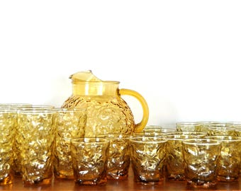 Vintage Amber Lido Milano Glasses and Pitcher by Anchor Hocking, Set of 31, Water Glasses, Juice Glasses, Cordial Glasses, Tumblers