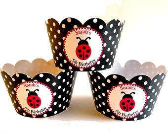 Ladybug Cupcake Wrappers, Ladybug Birthday, Ladybug party decor,  Ladybug wrappers Ladybug baby shower  Ladybug cupcakes Ladybug decorations