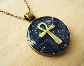 Bronze Ankh necklace . key of life. Ancient Egyptian jewellery.