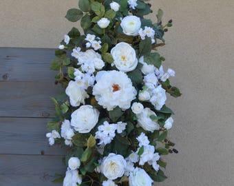 Ready To Ship, Wedding Arch, Wedding Archway Swag, Wedding Ceremony Swag, Wedding Arch flowers, Peony Rose Arch, BOHO Arch, Corner Arch