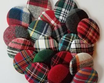 tartan plaid sewing buttons, craft buttons, mixed large buttons, large buttons, buttons for sewing, novelty buttons, handmade buttons