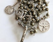 Rosary - John the Baptist & Holy Spirit - Pyrite - Sterling Silver