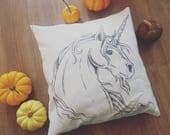 Pillowcase with handdrawn magical unicorn, home deco for your unicorn lifestyle, fantasy medieval gothic elegant mythical creature artwork