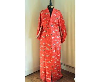 Vintage Japanese Kimono, Fabric Pattern flower / 1980'soriental cloth 'Kimono' all hand sewn size M Tribe wear /Authentic japanse kimono