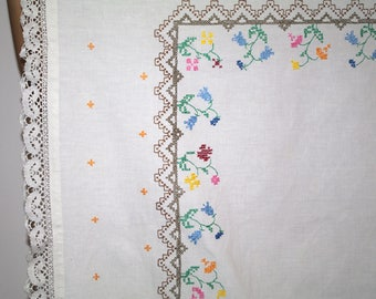 White hand embroidered square floral traycloth tablecloth Multicolour Flowers Embroidery Hand made Table top flowery dresser scarf Polish