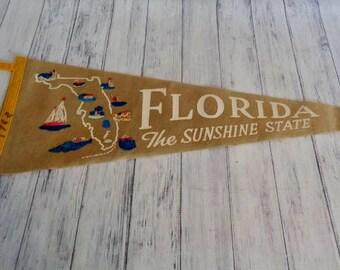 Vintage Felt Pennant Florida Sunshine State, 1960s Tan Felt Pennant State Map, Sailboat, 26 Inches Florida Travel Souvenir