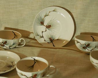 Vintage Canyon Pine by Kanedai - 6 Cups with Saucers - Hand Painted Japan