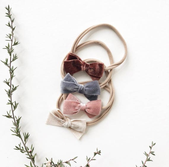 Headband Set- | The Paris Set | Rust, Grey, Blush + Cream Velvet Dainty Bows