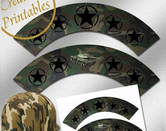 Army Cupcake Wrappers - Instant Download - Printable Cupcake Wrappers