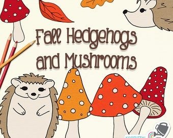 Fall Clip Art - hand drawn autumn hedgehog and mushroom illustrations in deep red, orange, brown and gold - commercial use - CU OK