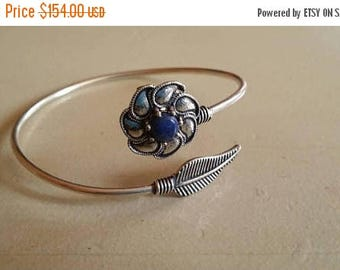 Holiday SALE 85 % OFF Lapis lazuli  Bangle Cuff Gemstone 925 Sterling Silver