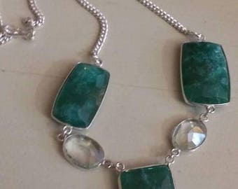 Holiday SALE 85 % OFF Emerald White topaz  Necklace .925 Sterling  Silver  Gemstone