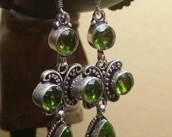 Holiday SALE 85 % OFF Peridot Earrings .925 Sterling Silver Gemstone