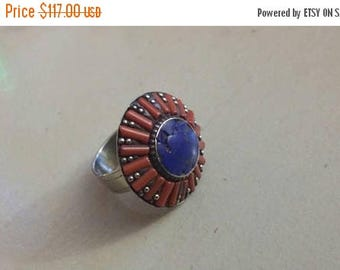 Holiday SALE 85 % OFF Red Coral Lapis Lazuli  Gemstone Gemstone 925 Sterling Silver Size 8