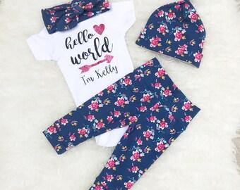 "Tiny Floral ""Hello World"" Set - Glitter Pink"