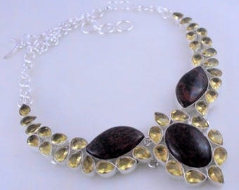 free shipping Obsidian -Citrine .925 Silver Handmade Jewelry Necklace 70 Gr. F-416-46