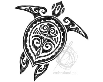 Turtle Tattoo - Machine Embroidery Design - Instant Download - Three sizes