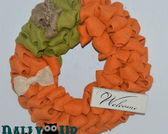 Pumpkin Wreath, Fall Wreath, Burlap wreath, Pumpkin Burlap Wreath Autumn Wreath, Thanksgiving Wreath, Halloween Wreath, Welcome Wreath, Fall