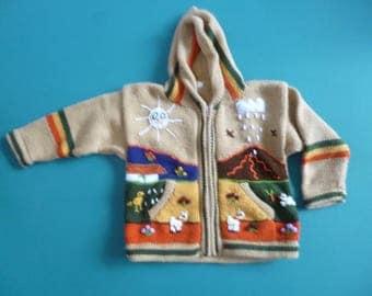 Size 4 alpaca child's sweater hand made in Peru