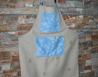 kitchen apron - linen and cotton - pockets blue ticking