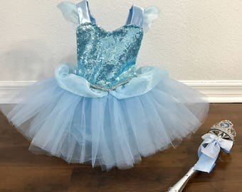 Ultra Deluxe sky blue princess inspired romper