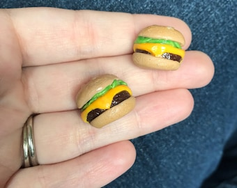 Cheeseburger Stud Earrings Hamburger Earrings Polymer Clay Earrings