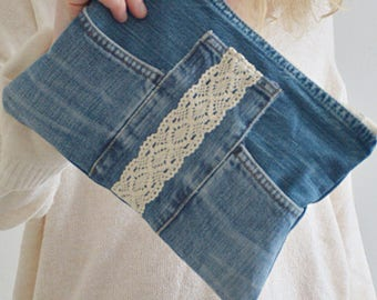 DENIM clutch purse with lace detailing + cotton lining / recycled denim - upcycled denim pouch with zipper / denim purse / designer handbag
