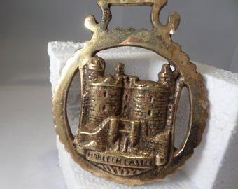 Horse brass, Harlech Castle,  Welsh castles,  horse brass, vintage brass, horse tack, horse medallion, equestrian brass, brass medallion