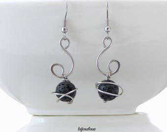 Earrings black pearls beads lava and stainless steel
