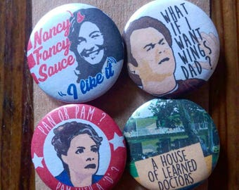 Step Brothers - Will Ferrell - John C Reilly - Classic Comedy - 4 pin button badge set No.2