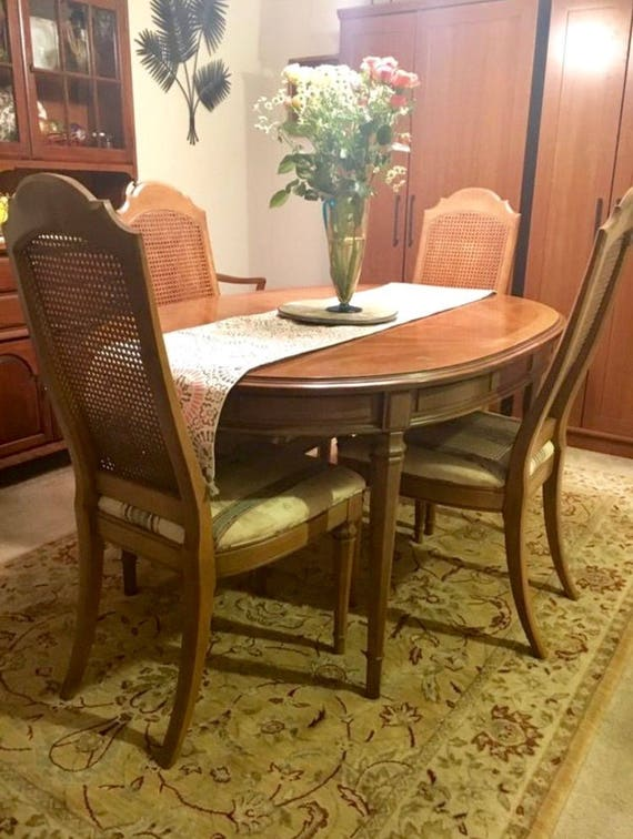 ESPERANTO Drexel Dining Room Set, 1960u0027s, 6 Chairs, 3 Leaves, Pecan Wood  Inlay, Original Padded Covers Part 88