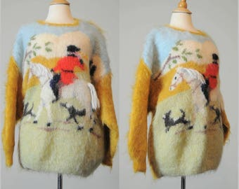 70s Mohair Sweater Equestrian Bird Dog Hunting L